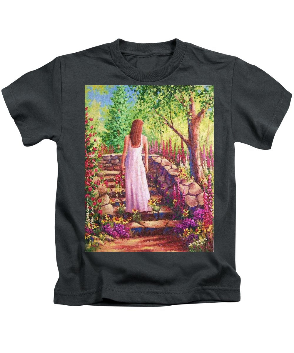 Woman Kids T-Shirt featuring the painting Morning In Her Garden by David G Paul