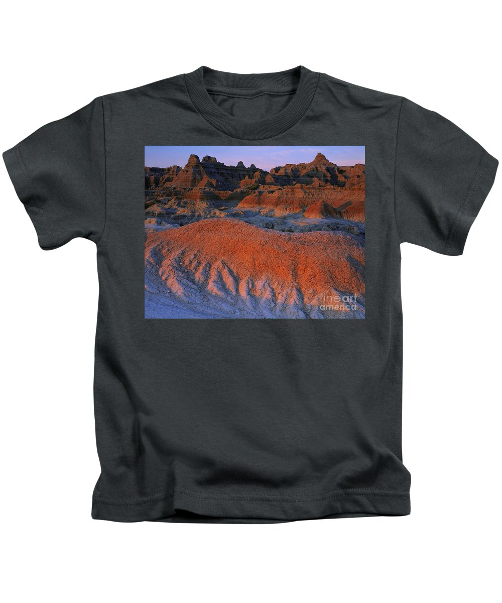 Badlands Kids T-Shirt featuring the photograph Morning Light, Badlands Np by Willard Clay