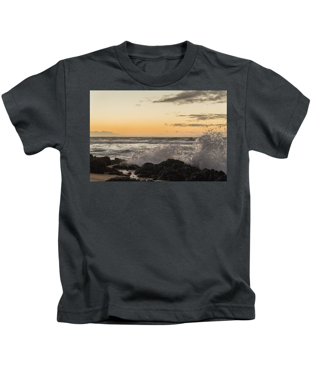 Ocean Sun Wave Hawaii Sand Sea Sky Rocks Spray Surf Oahu Waves Clouds Orange Blue Reflection Water Splash Footprints Flow Wash Yellow Paradise South Sandys Kai Stream Mirror Shine Shiny Crab Fish Morning Sunrise Sunset Dawn Early Bird Rise Dusk Free Calm Relaxed Relaxing Relax Cool Warm Comfort Happy Vacation Dream Kids T-Shirt featuring the photograph Morning Ocean Mist by Joshua Marumoto