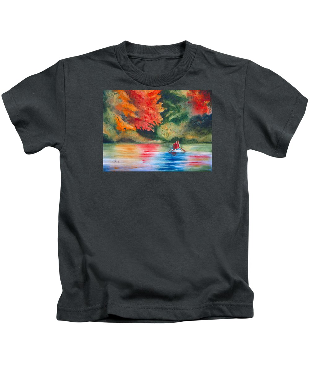 Lake Kids T-Shirt featuring the painting Morning On The Lake by Karen Stark