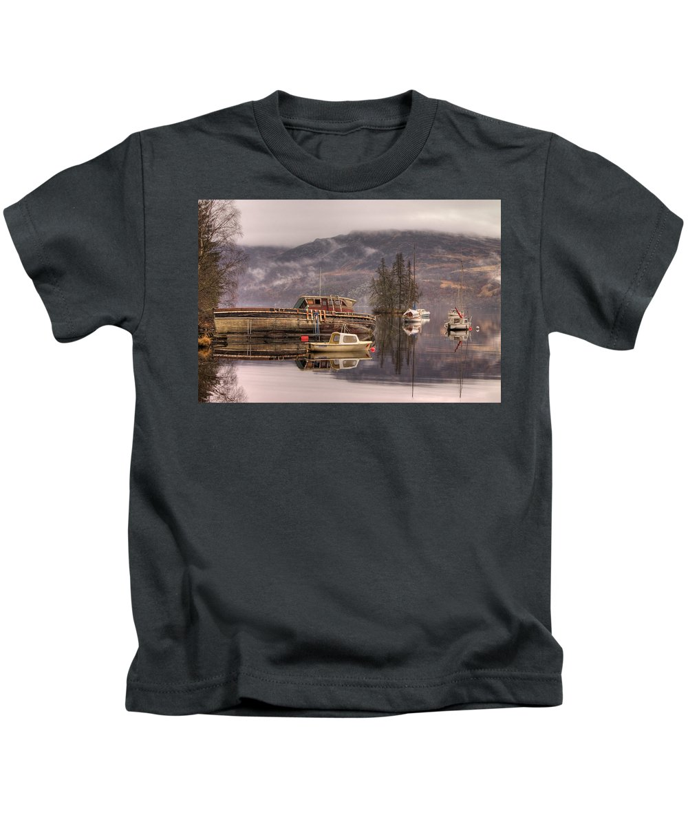 Reflections Kids T-Shirt featuring the photograph Morning Reflections Of Loch Ness by Ian Middleton