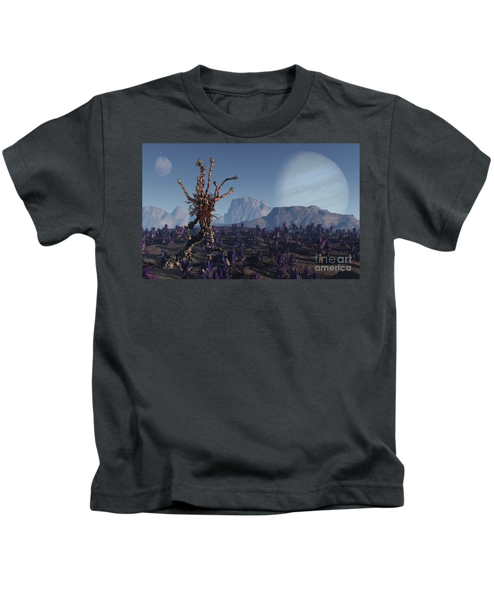 Alien Kids T-Shirt featuring the digital art Morning Stroll by Richard Rizzo