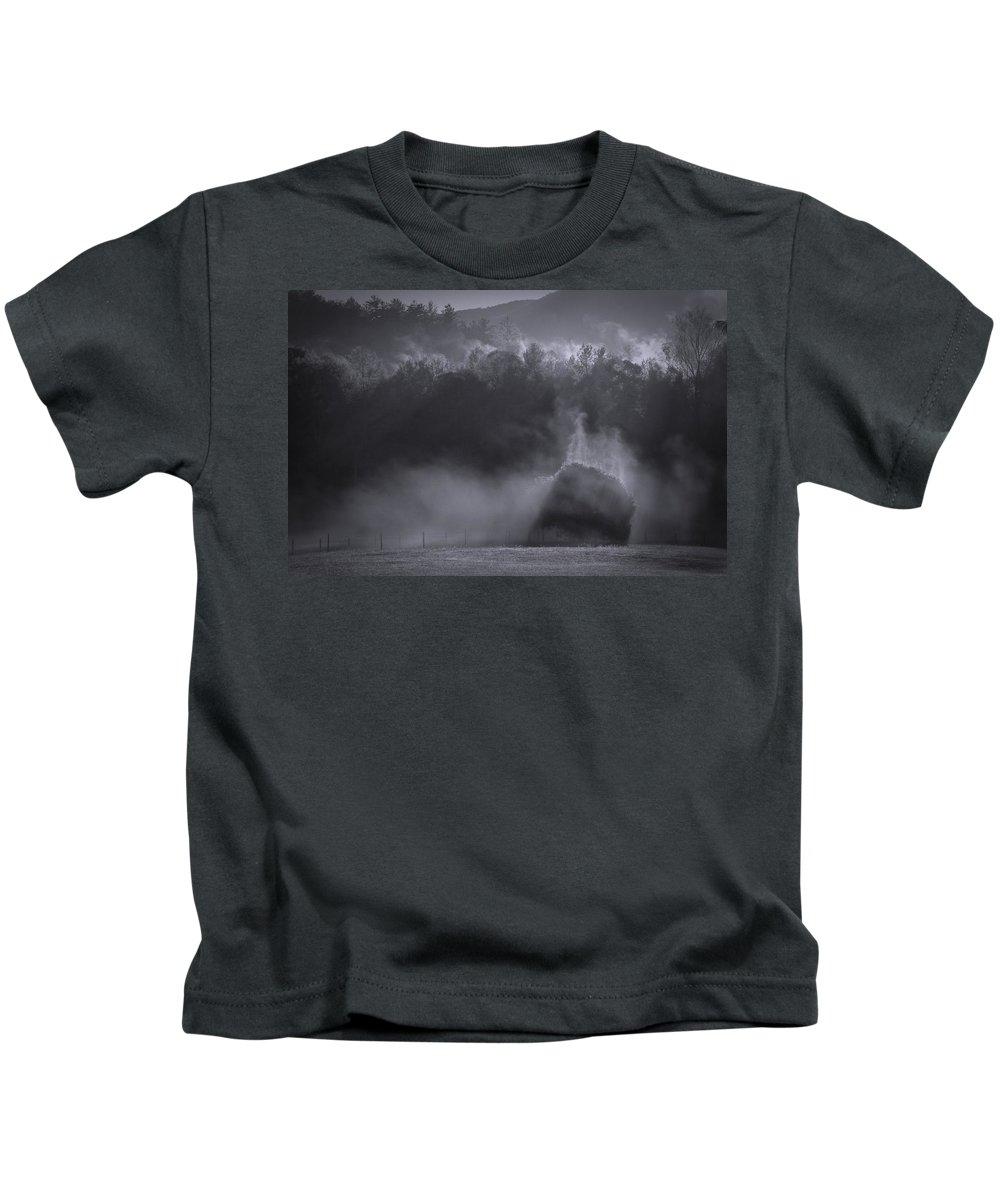 Morning Sun Rising Fog Cades Cove Kids T-Shirt featuring the photograph Morning Sun Rising Fog Cades Cove by Dan Sproul