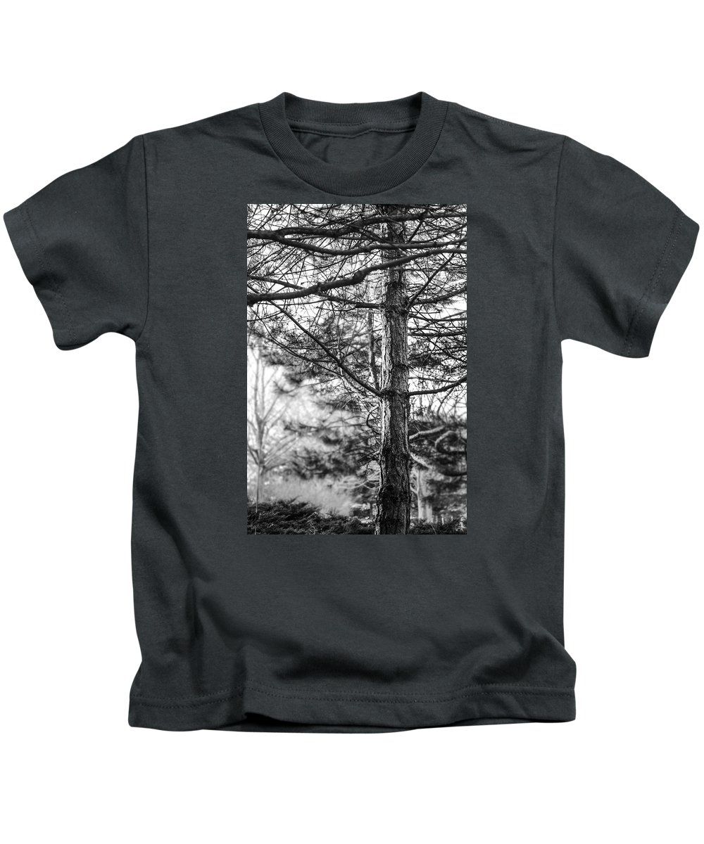 B&w Kids T-Shirt featuring the photograph Morning Tree by Mattice Aaland
