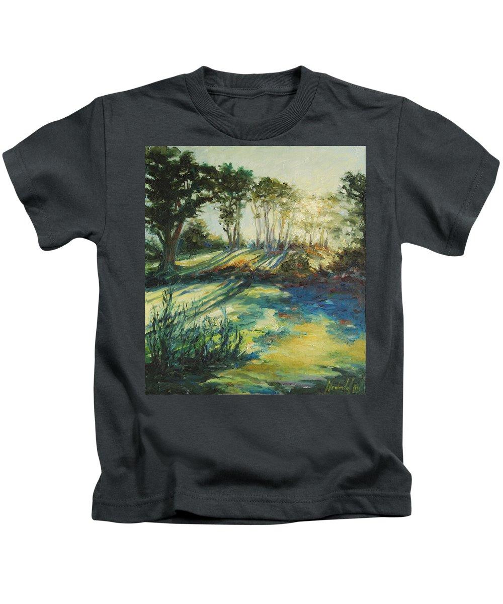 Sunrise Kids T-Shirt featuring the painting Morning Walk by Rick Nederlof
