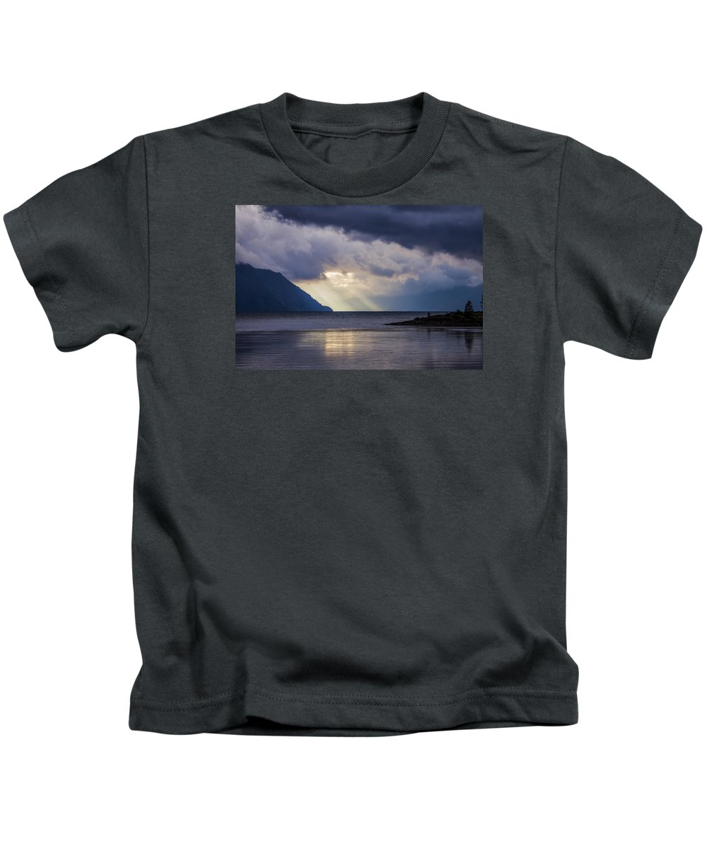 Lake Pend Oreille Kids T-Shirt featuring the photograph Mostly Cloudy With A Few Sunbreaks by Albert Seger