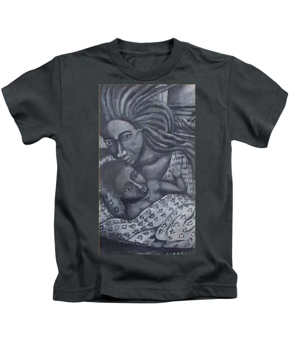 Mother Taking Care Of Child Kids T-Shirt featuring the painting Mother And Son by Andrew Johnson