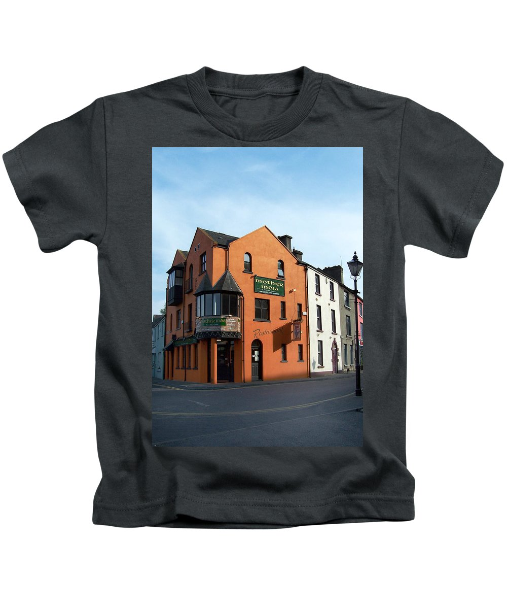 Ireland Kids T-Shirt featuring the photograph Mother India Restaurant Athlone Ireland by Teresa Mucha