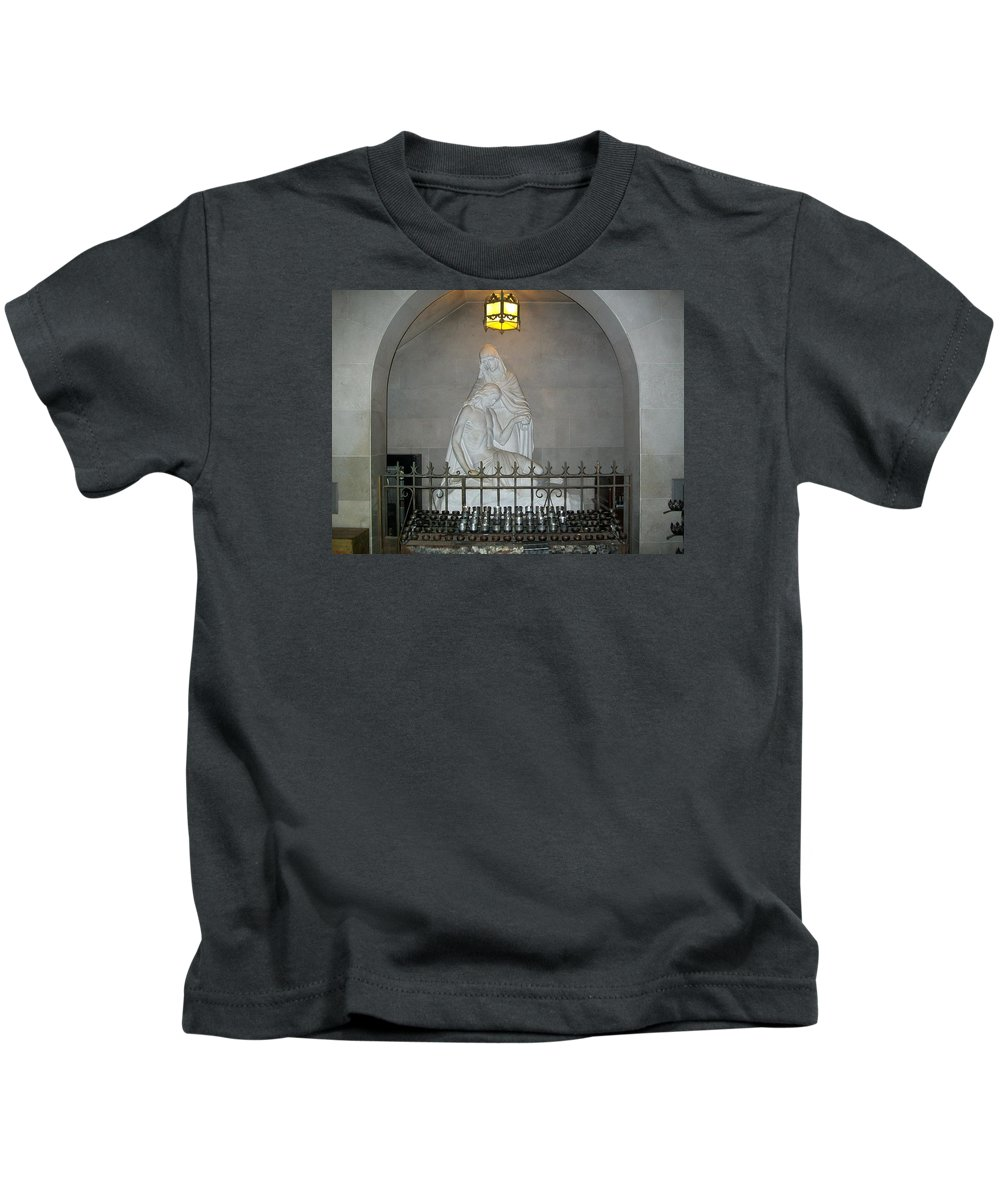Virgin Mary Kids T-Shirt featuring the photograph Mother Mourns by Laurette Escobar