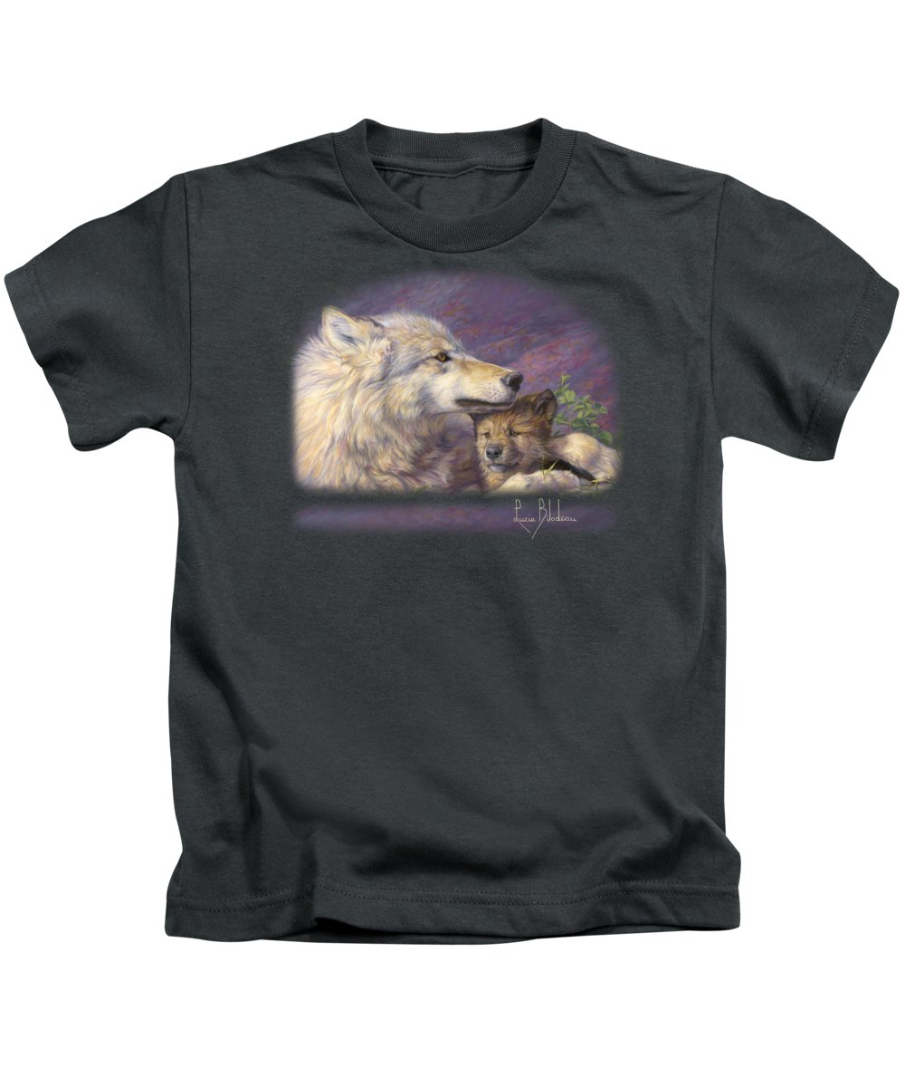 Wolf Kids T-Shirt featuring the painting Mother's Love by Lucie Bilodeau