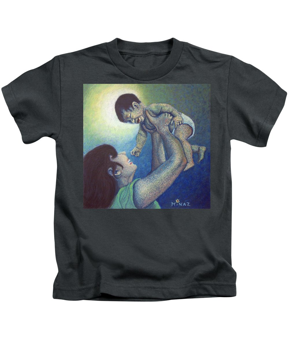 Mother Kids T-Shirt featuring the painting Mother's Play by Minaz Jantz