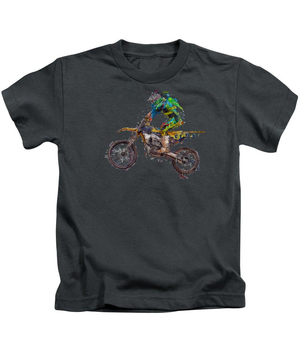 Action Kids T-Shirt featuring the photograph Motorbiker by Roy Pedersen
