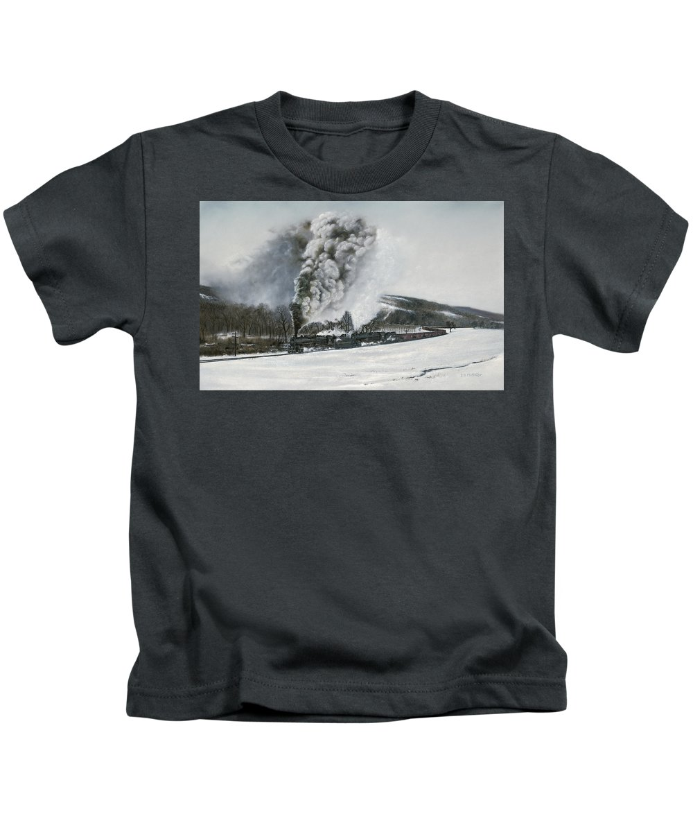 Trains Kids T-Shirt featuring the painting Mount Carmel Eruption by David Mittner