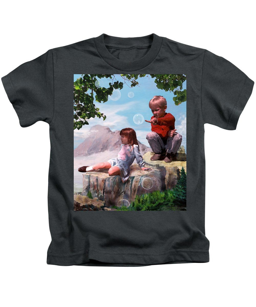 Landscape Kids T-Shirt featuring the painting Mount Innocence by Steve Karol