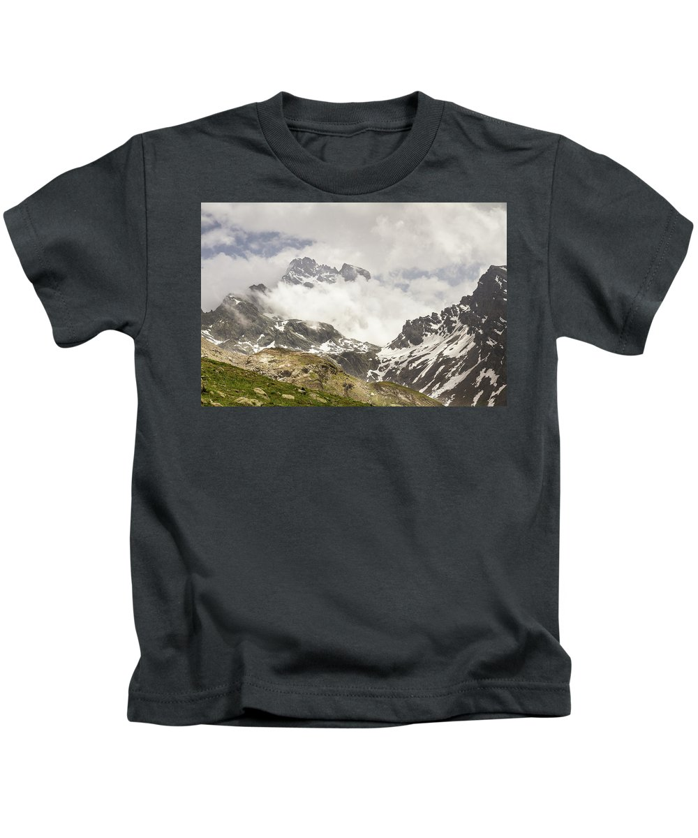 Mountain Landscape Kids T-Shirt featuring the photograph Mount Viso In The Clouds by Paul MAURICE