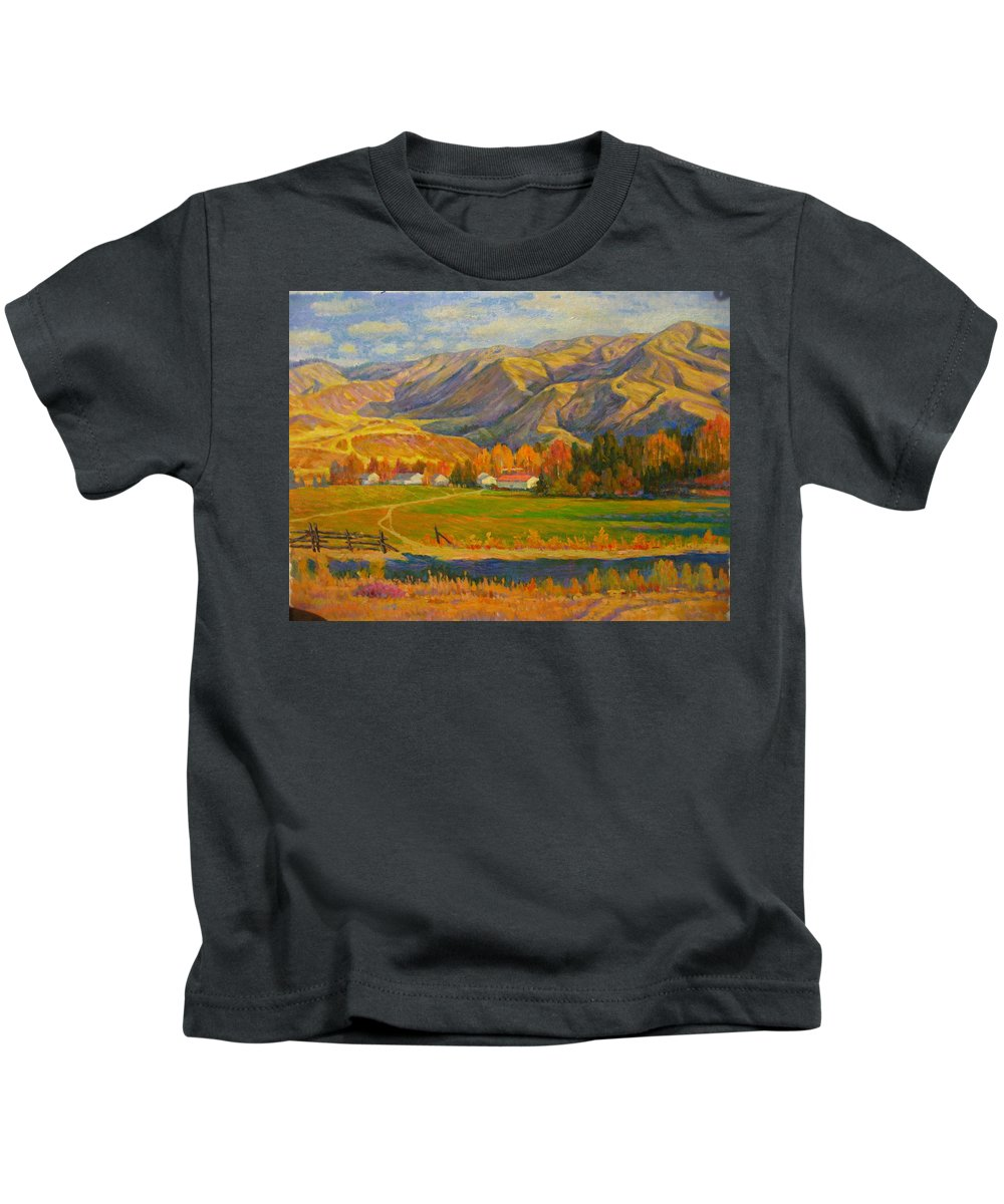Kids T-Shirt featuring the painting Mountain by Deliang Ma
