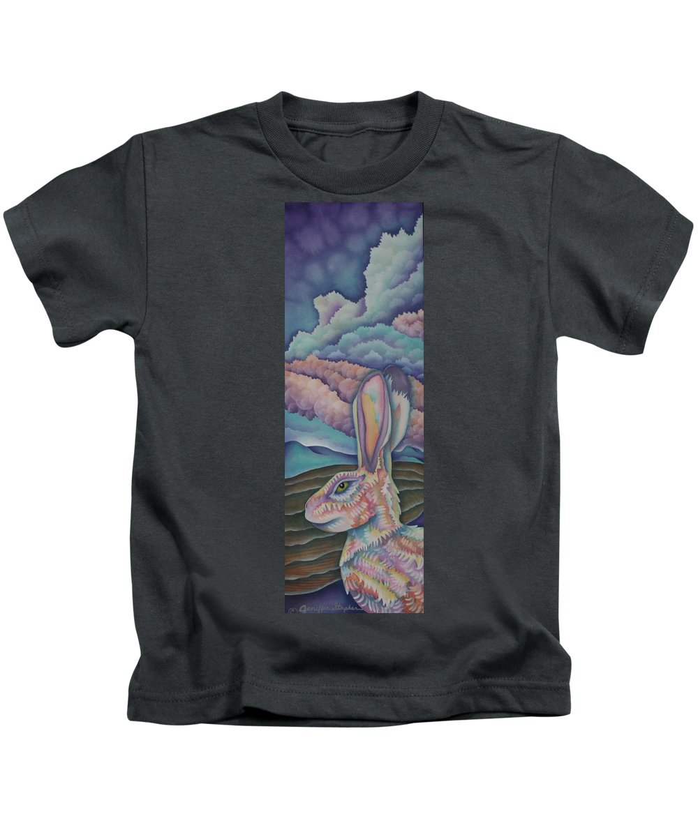 Rabbit Kids T-Shirt featuring the painting Mountain King by Jeniffer Stapher-Thomas