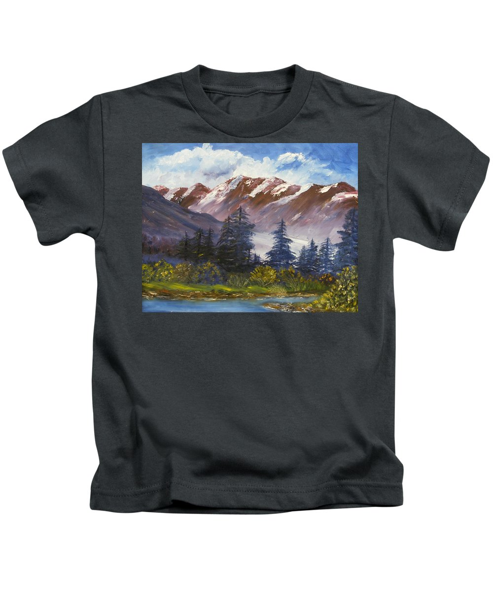 Oil Painting Kids T-Shirt featuring the painting Mountains I by Lessandra Grimley
