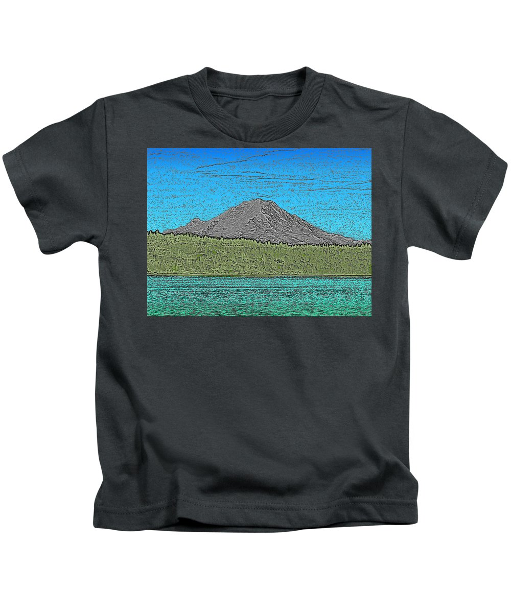 Mountain Kids T-Shirt featuring the digital art Mountains Majesty by Tim Allen