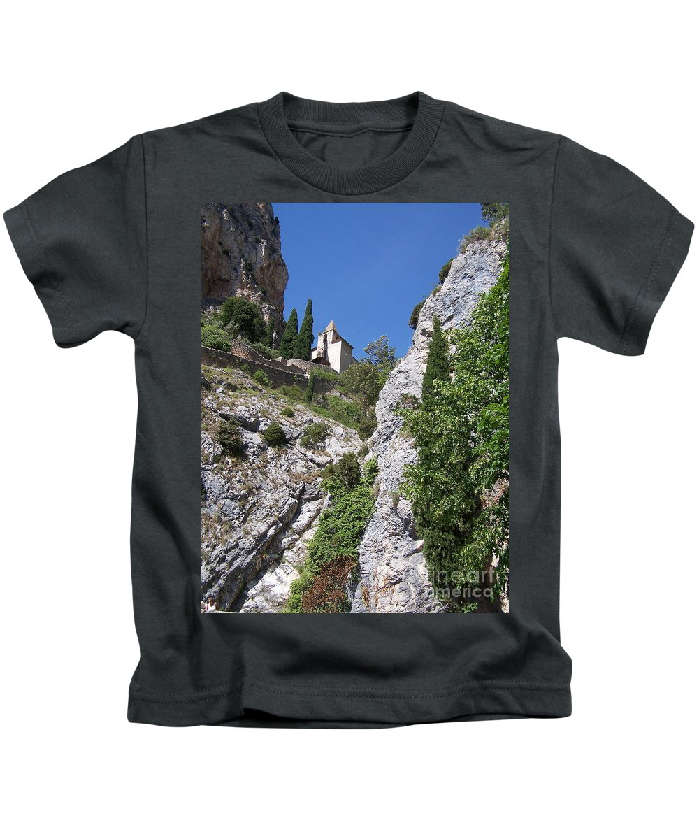 Church Kids T-Shirt featuring the photograph Moustier St. Marie Church by Nadine Rippelmeyer