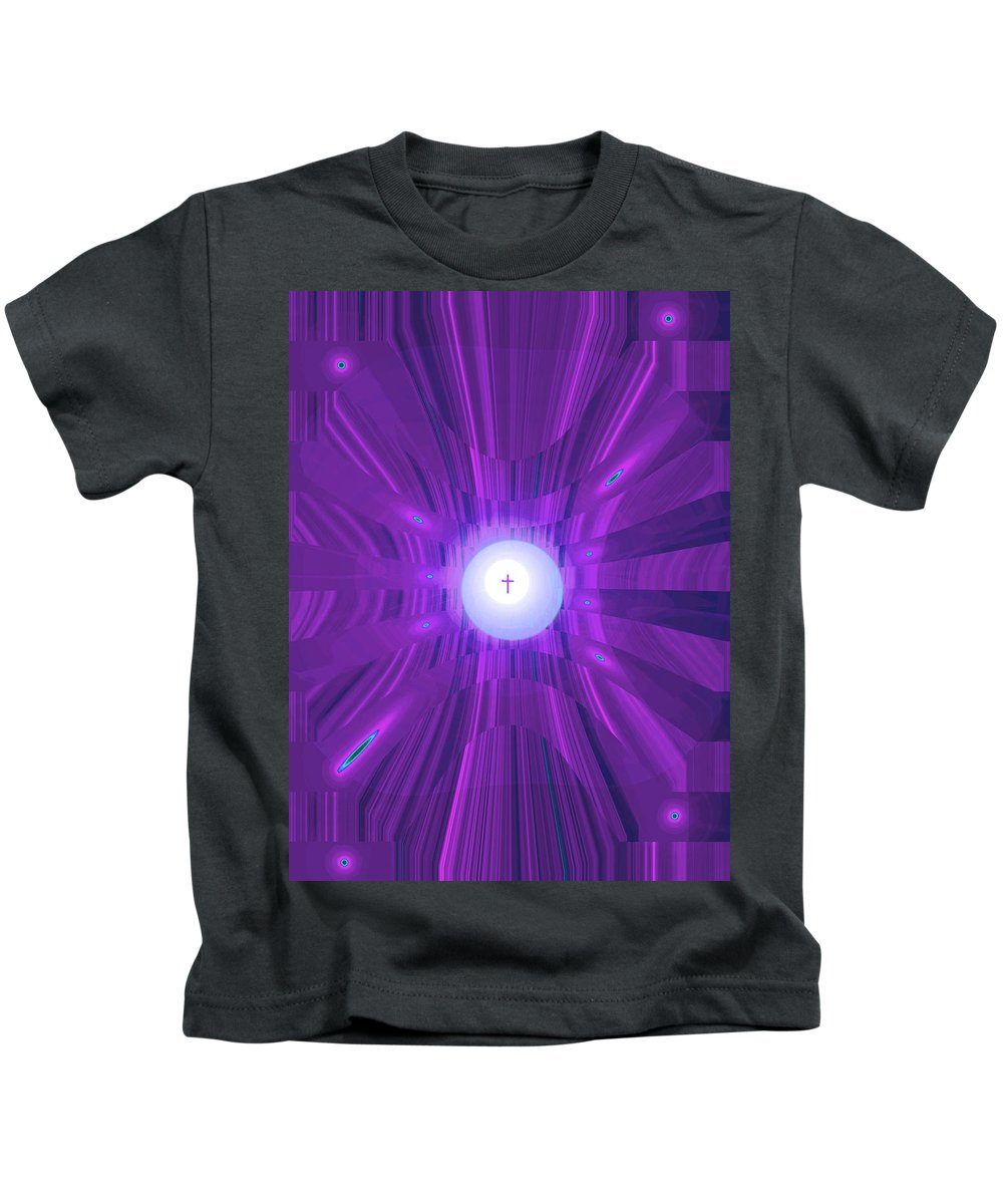 Moveonart! Digital Gallery Kids T-Shirt featuring the digital art Moveonart Abstract Cross In Purple by Jacob Kanduch