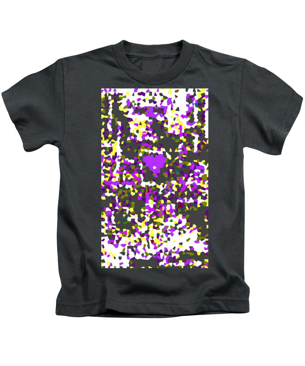 Moveonart! Digital Gallery Kids T-Shirt featuring the digital art Moveonart Abstract Visual Therapy With Purple Heart by Jacob Kanduch
