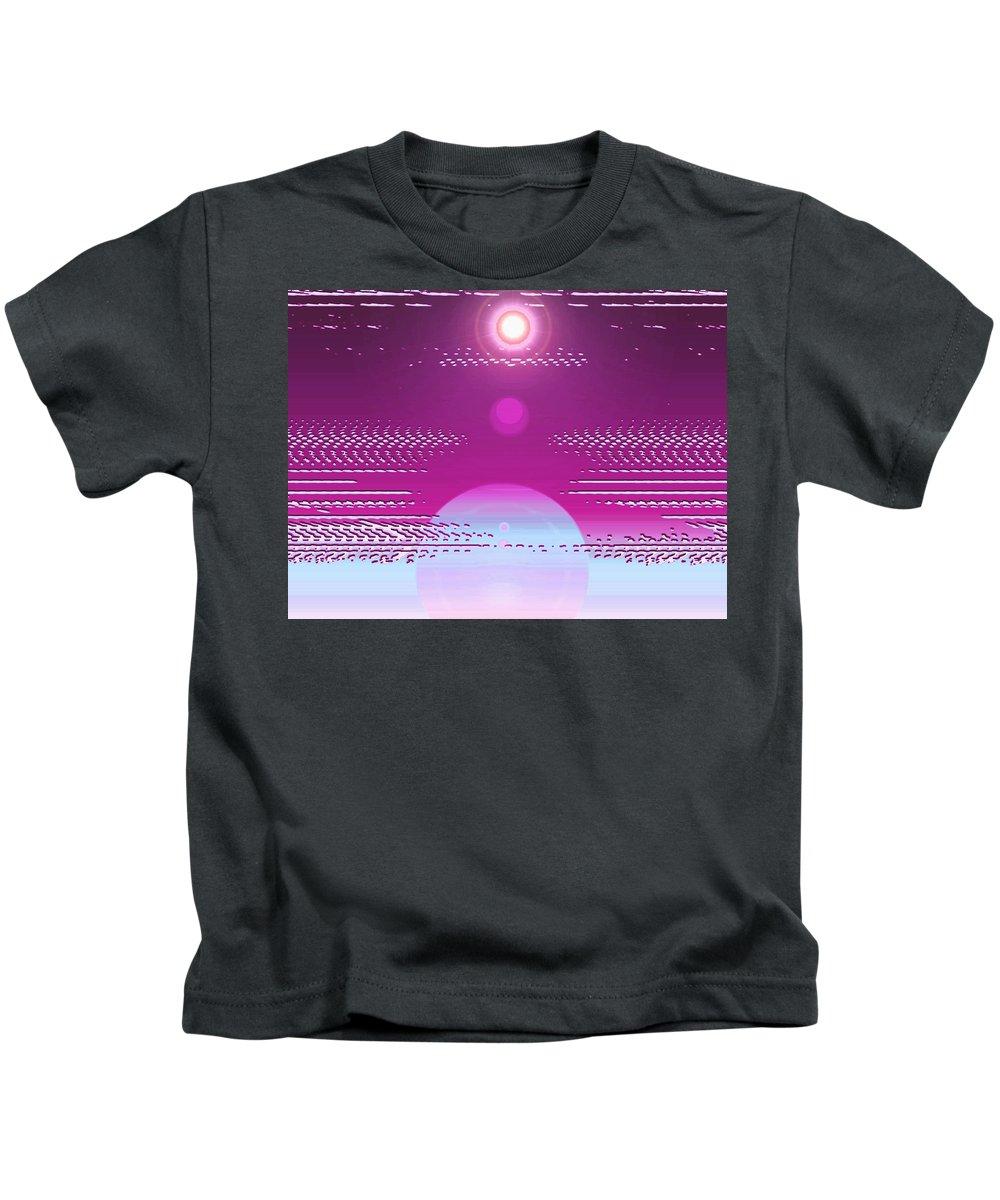 Moveonart! Digital Gallery Kids T-Shirt featuring the digital art Moveonart Calming Cosmic Centering One by Jacob Kanduch