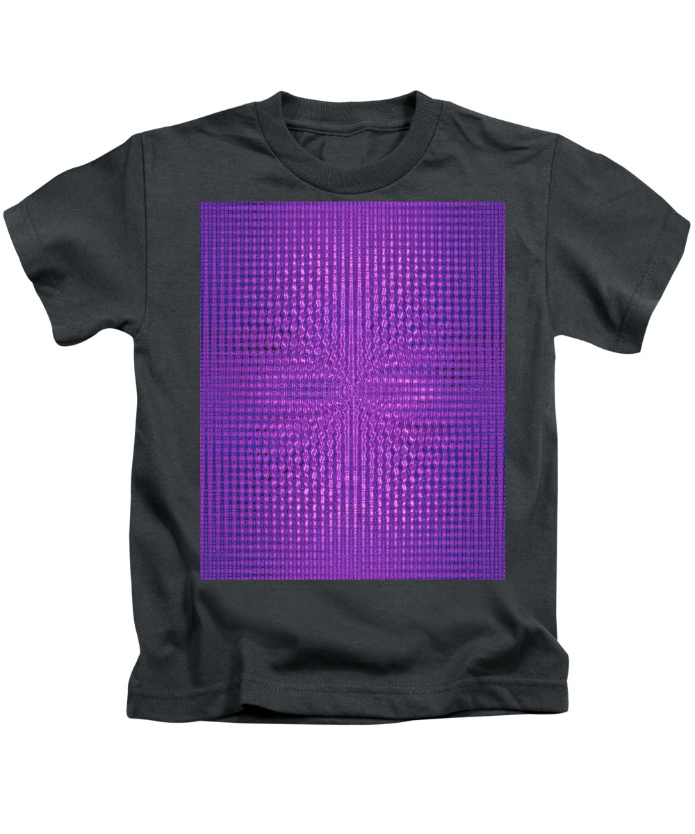 Moveonart! Digital Gallery Kids T-Shirt featuring the digital art Moveonart Intentionally Intelligently Impressed Violet Therapy One by Jacob Kanduch