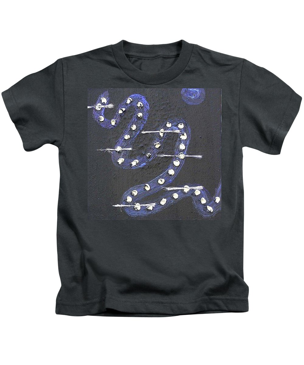 Moveonart! Digital Gallery Kids T-Shirt featuring the painting Moveonart Snake And Moon by Jacob Kanduch