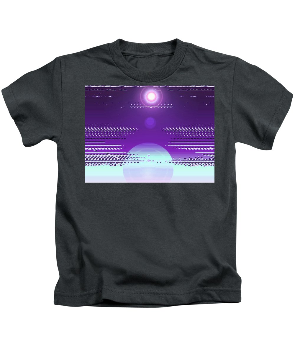 Moveonart! Digital Gallery Kids T-Shirt featuring the digital art Moveonart Violet Light Of Charitable Consciousness by Jacob Kanduch