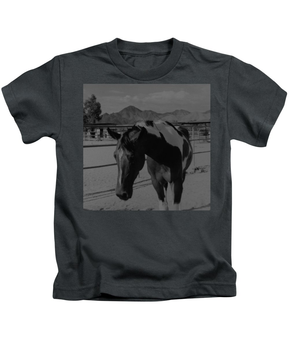 Black And White Kids T-Shirt featuring the photograph Mr Ed In Black And White by Rob Hans