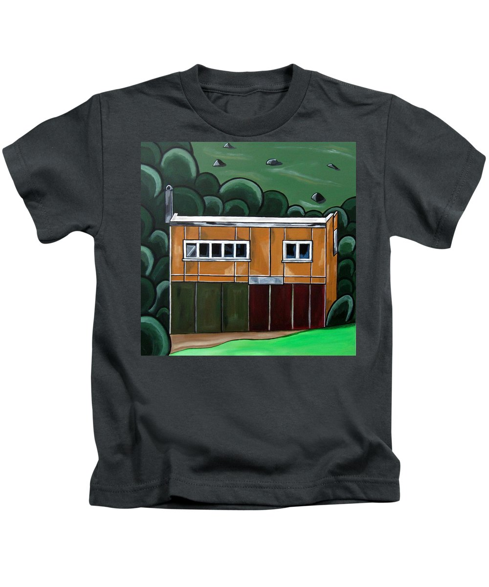 Paintings Of Cottages Kids T-Shirt featuring the painting Mr Mustard by Sandra Marie Adams
