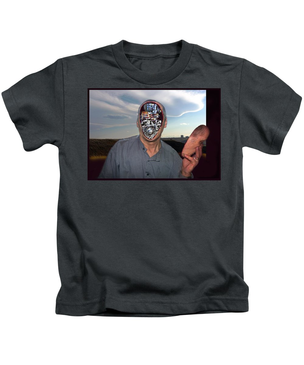 Surrealism Kids T-Shirt featuring the digital art Mr. Robot-Otto by Otto Rapp
