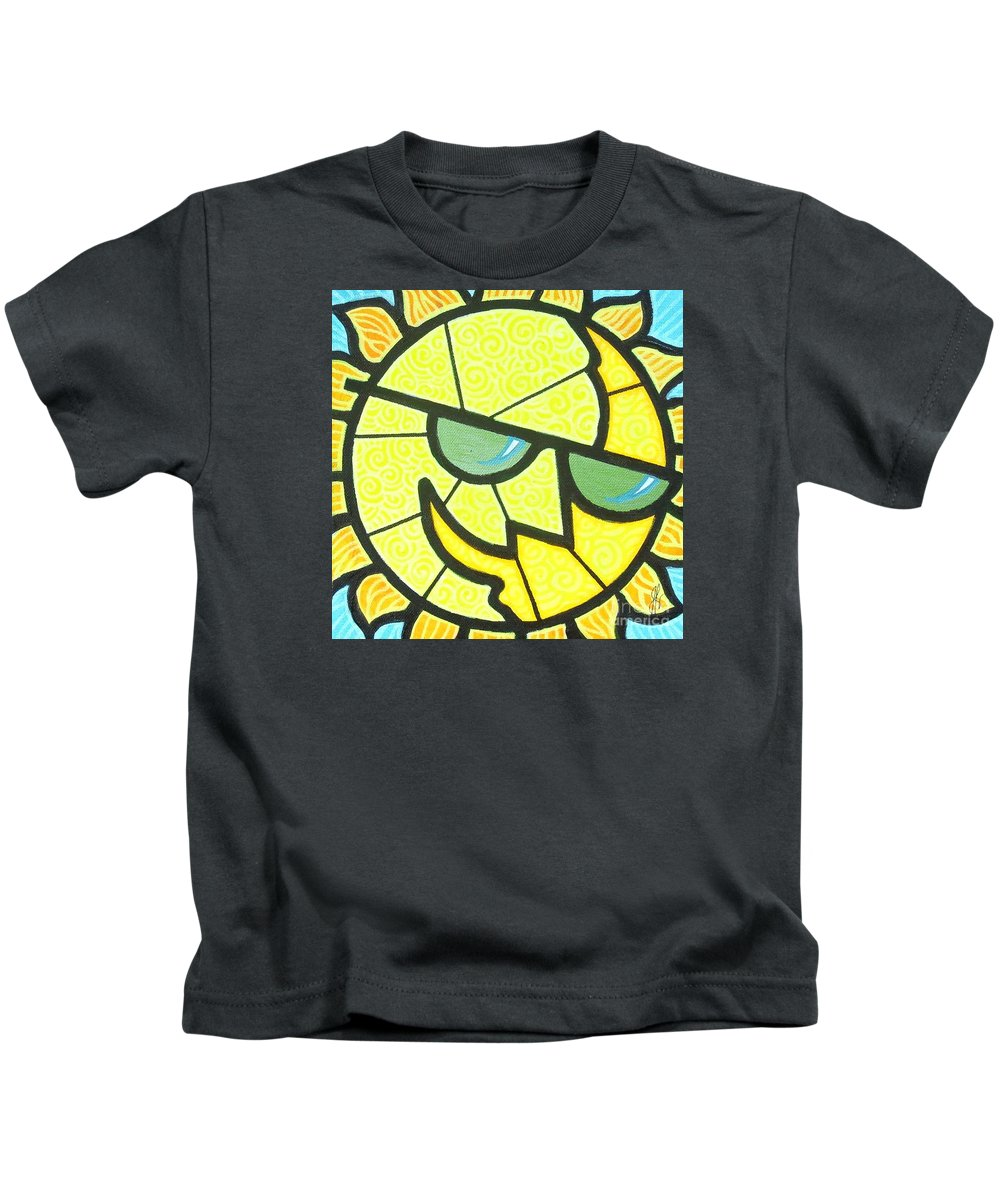Sunshine Kids T-Shirt featuring the painting Mr Sunny Day by Jim Harris