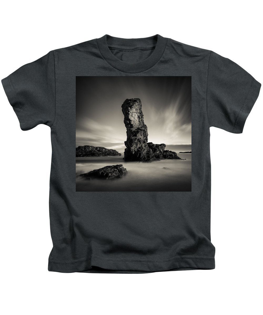 Muchalls Kids T-Shirt featuring the photograph Muchalls Stack by Dave Bowman