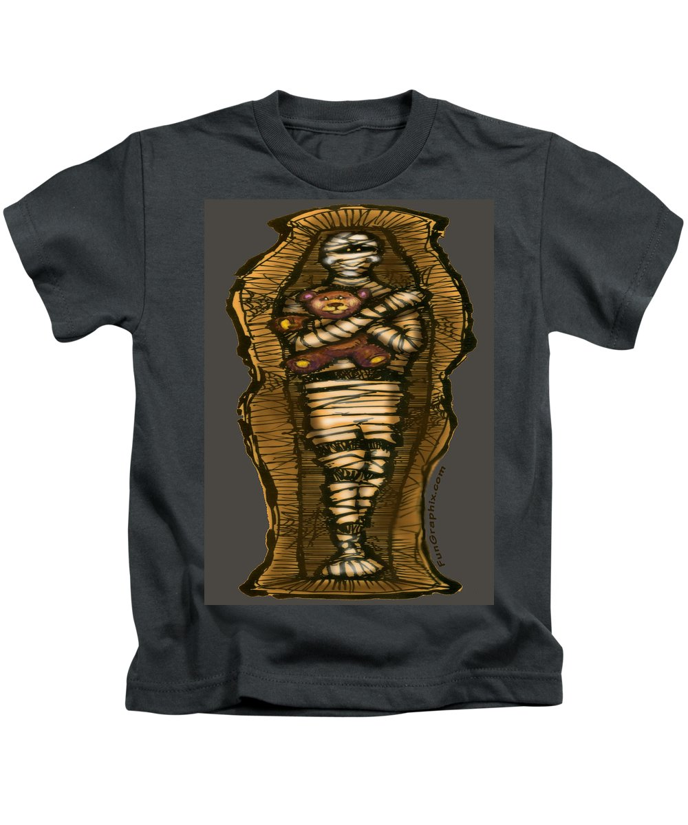 Halloween Kids T-Shirt featuring the greeting card Mummy And Teddy by Kevin Middleton