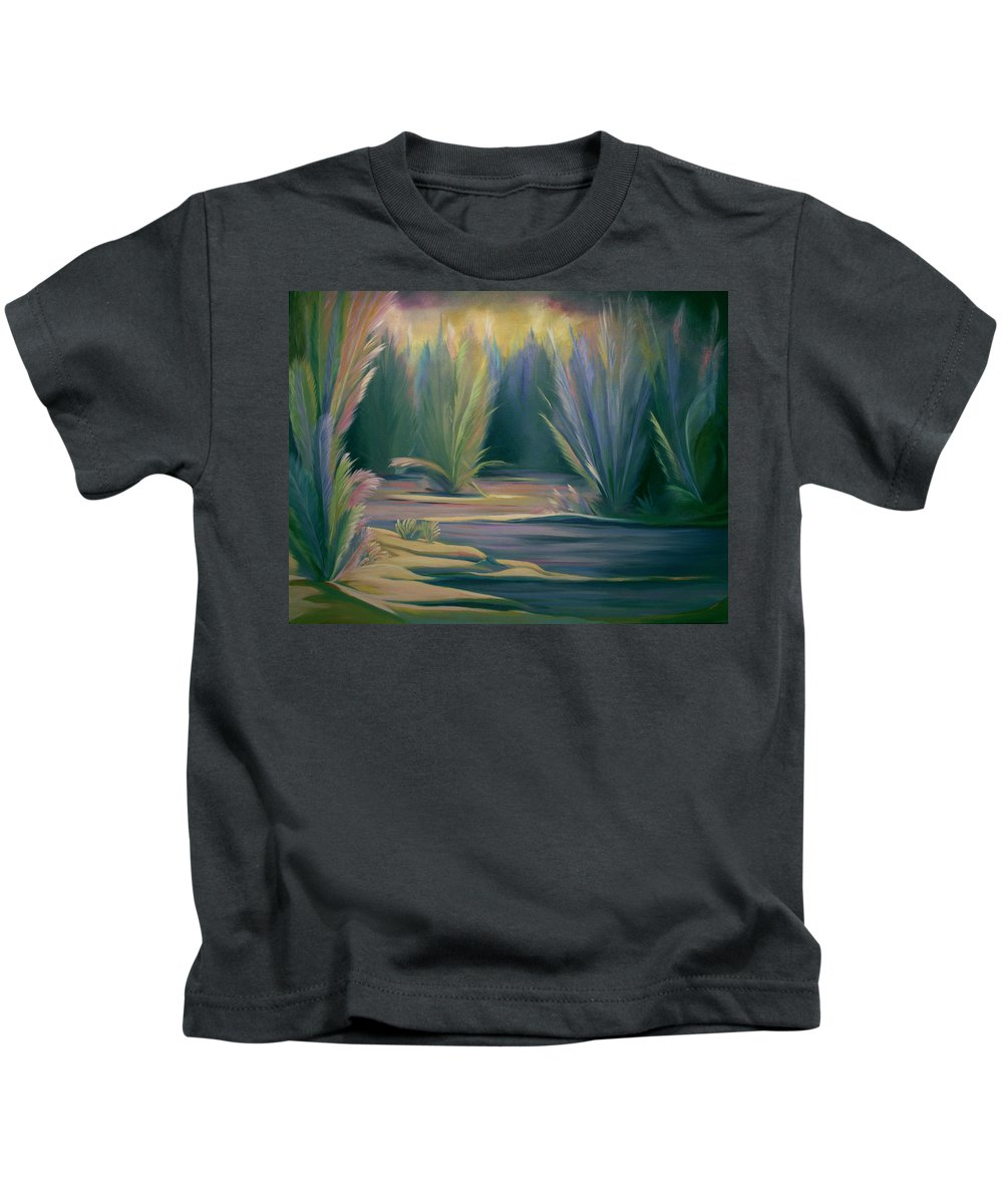 Feathers Kids T-Shirt featuring the painting Mural Field of Feathers by Nancy Griswold