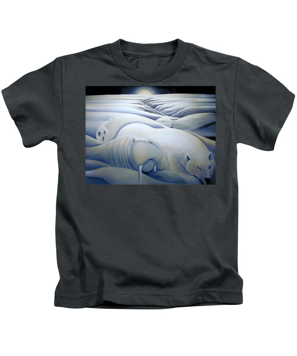 Mural Kids T-Shirt featuring the painting Mural Winters Embracing Crevice by Nancy Griswold