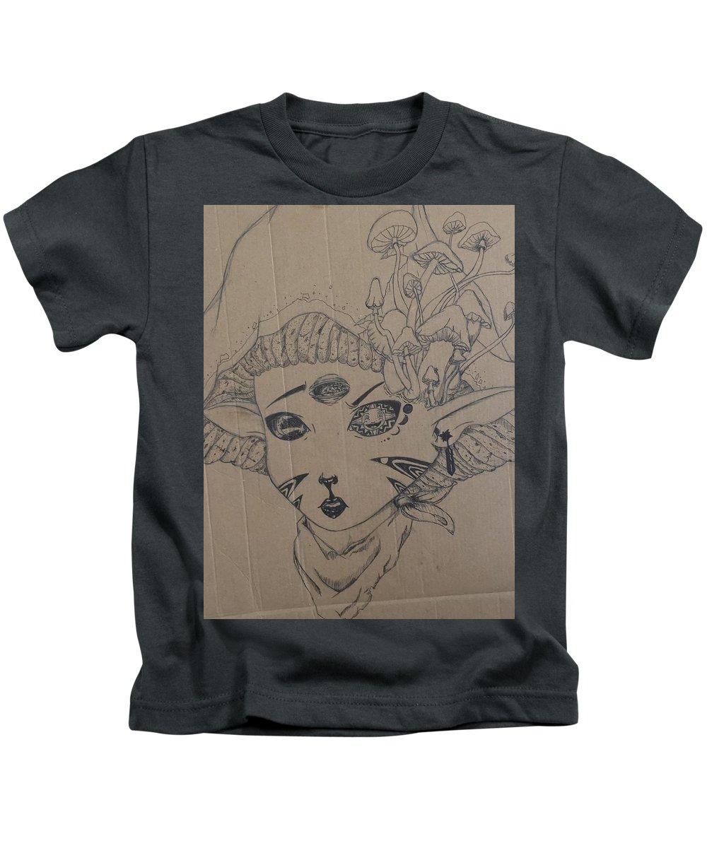 Mushroom Kids T-Shirt featuring the drawing Mushroom Nymph Original by Tevin Borne