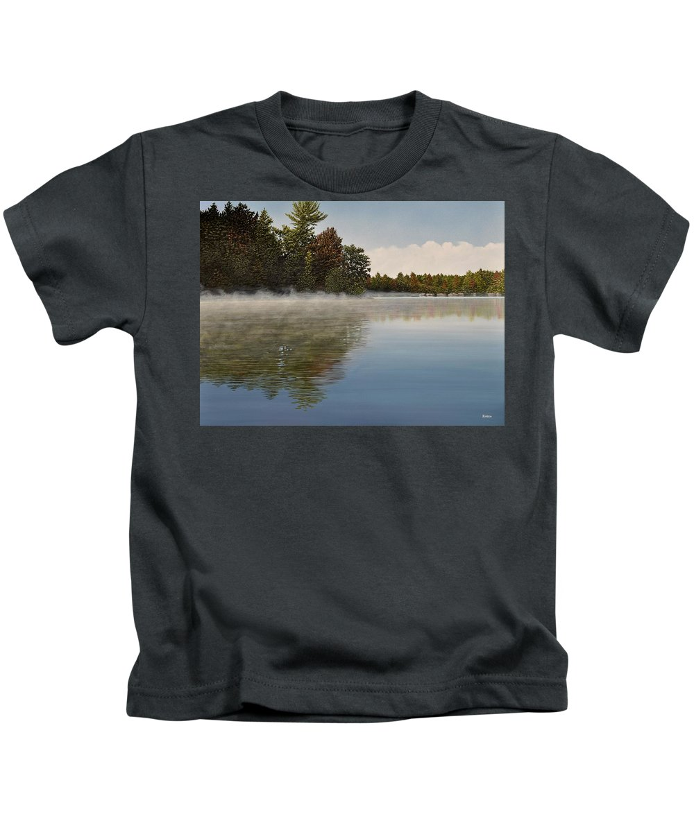 Lakes Kids T-Shirt featuring the painting Muskoka Morning Mist by Kenneth M Kirsch