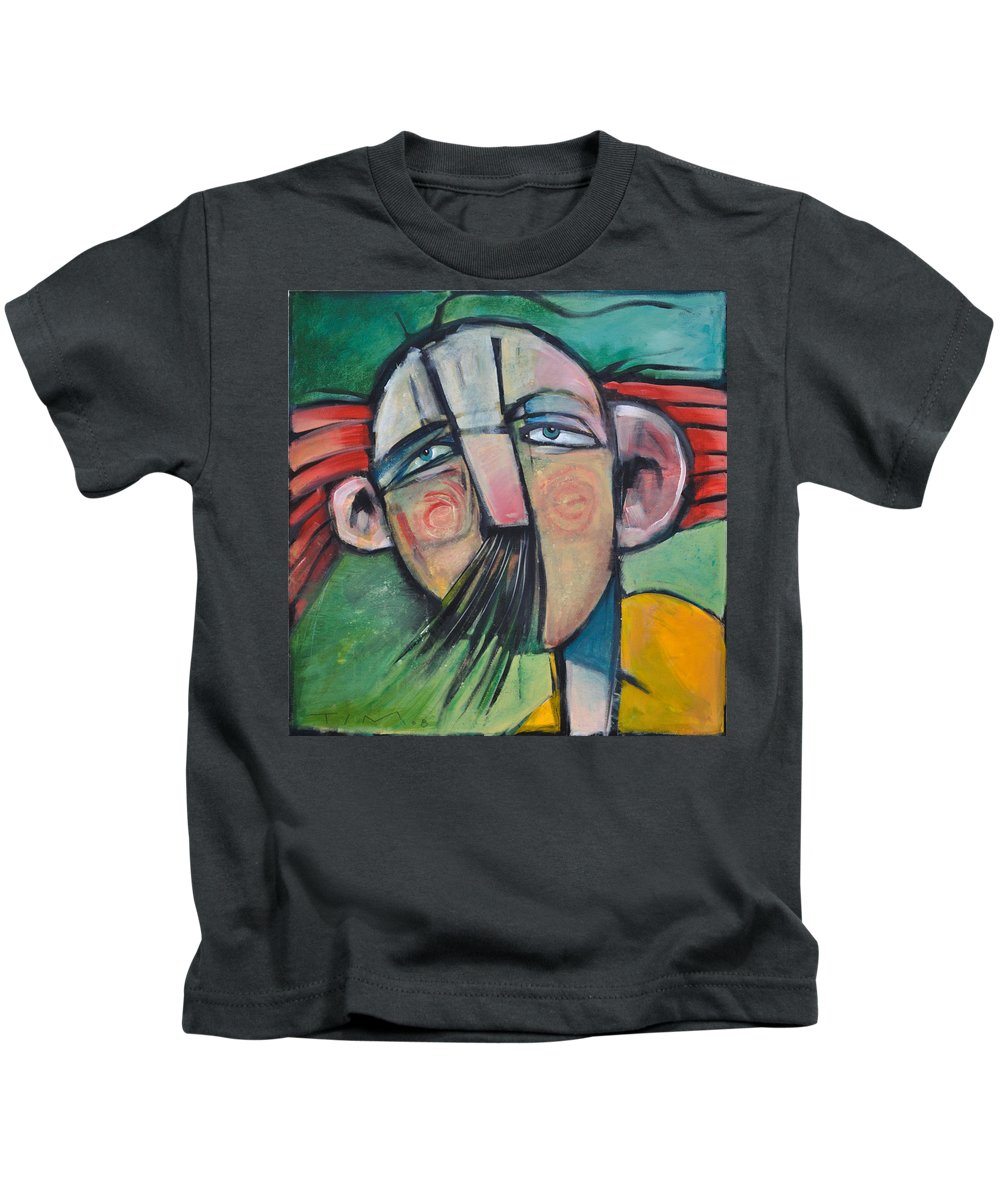 Humor Kids T-Shirt featuring the painting Mustached Man In Wind by Tim Nyberg