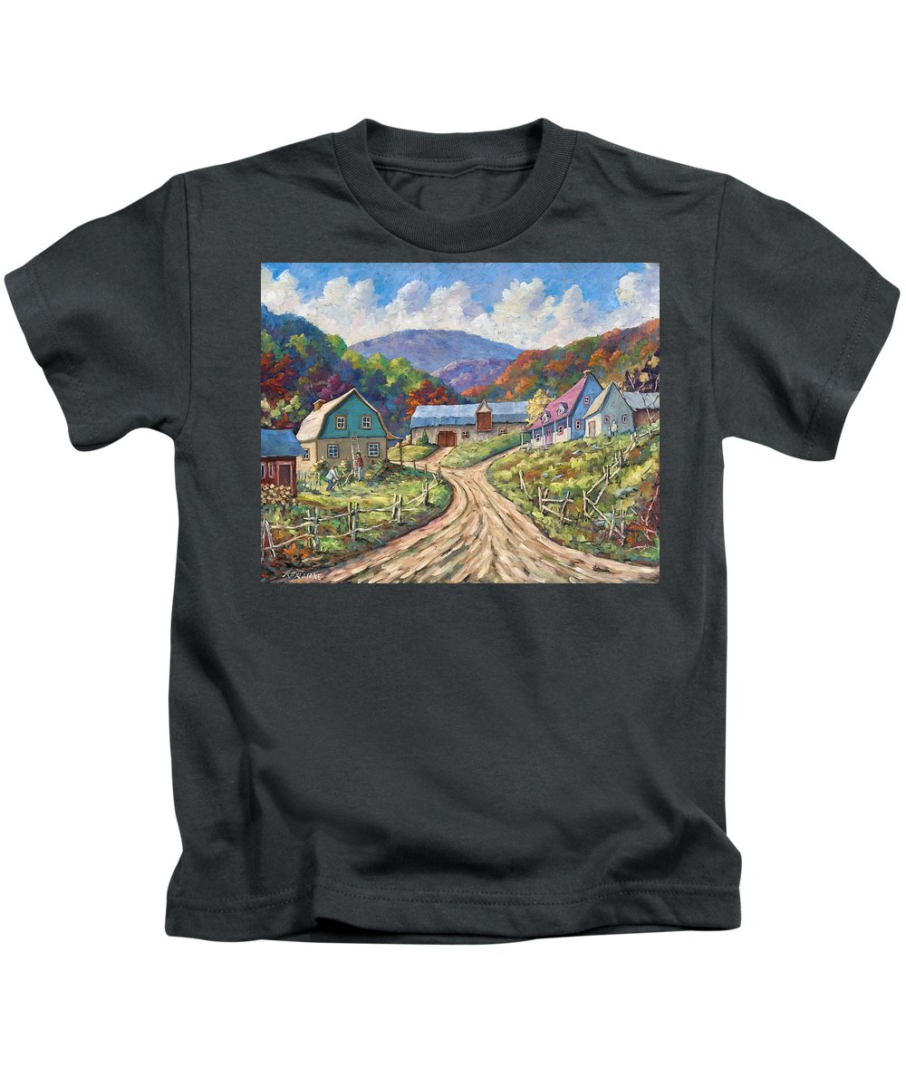 Country Kids T-Shirt featuring the painting My Country My Village by Richard T Pranke