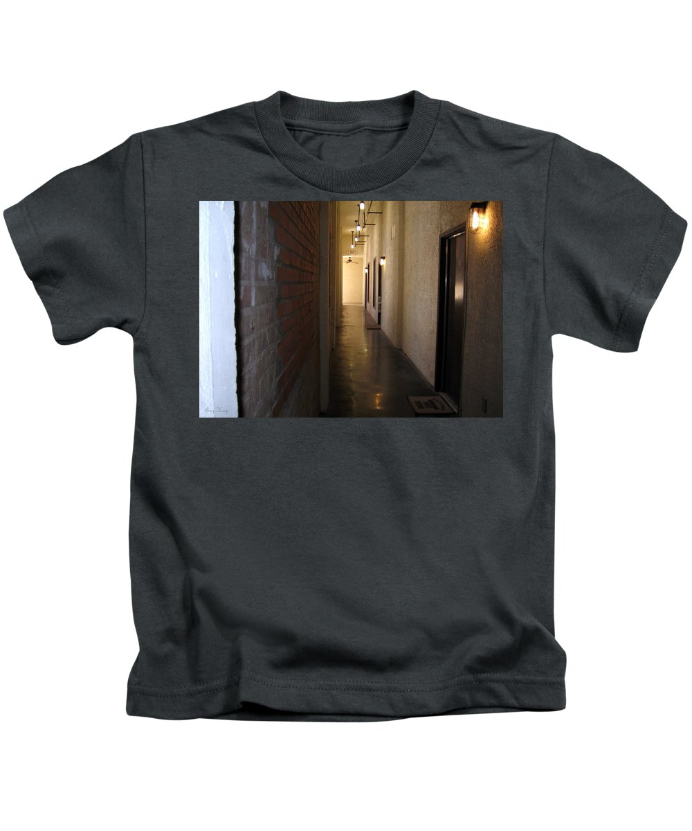 Old Building Kids T-Shirt featuring the photograph My Door by Amy Hosp