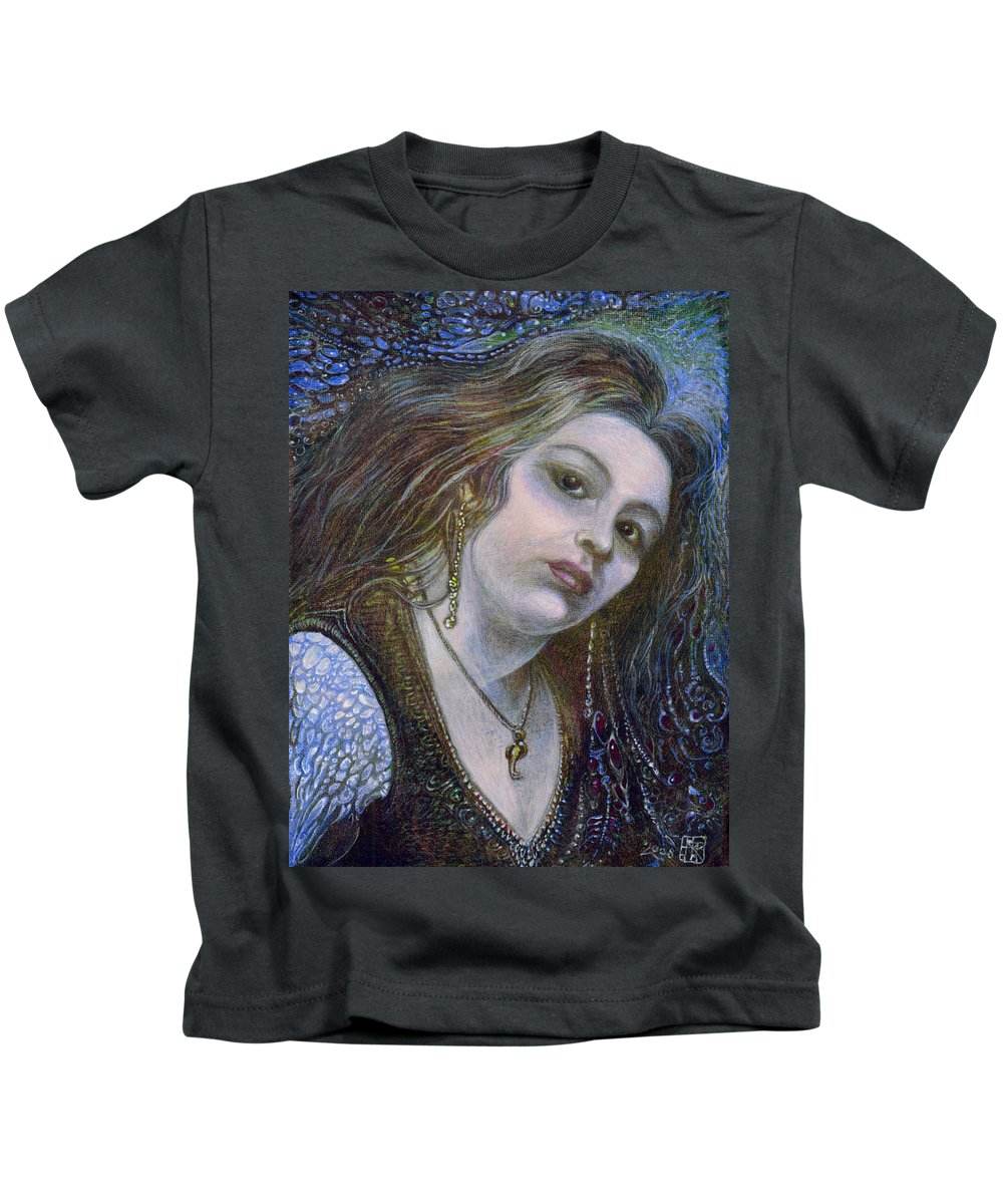 Fantasy Kids T-Shirt featuring the painting My Mermaid Christan by Otto Rapp