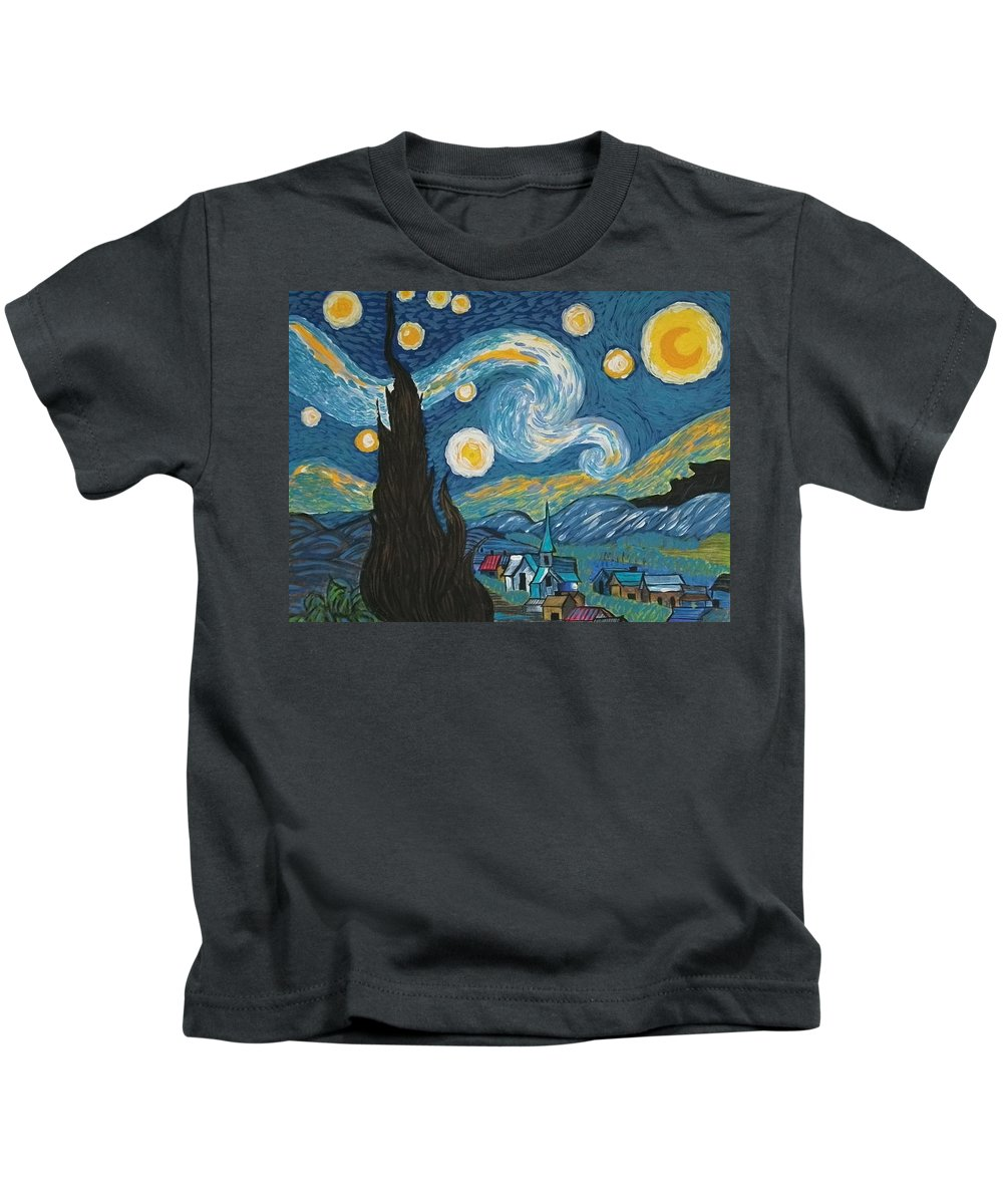 Vincent Kids T-Shirt featuring the painting My Starry Nite by Angela Miles Varnado