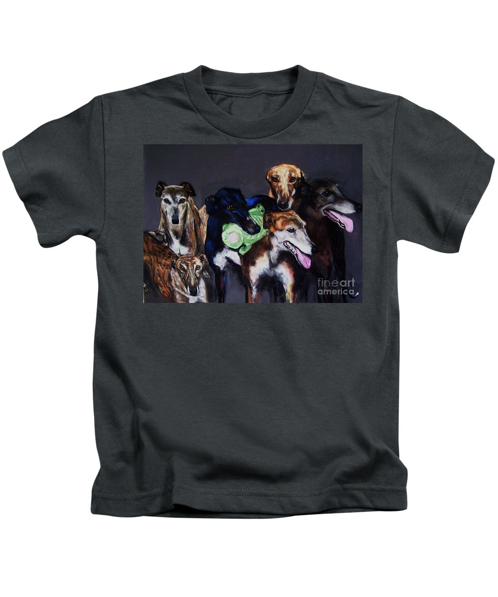 Greyhounds Kids T-Shirt featuring the painting My Teachers by Frances Marino