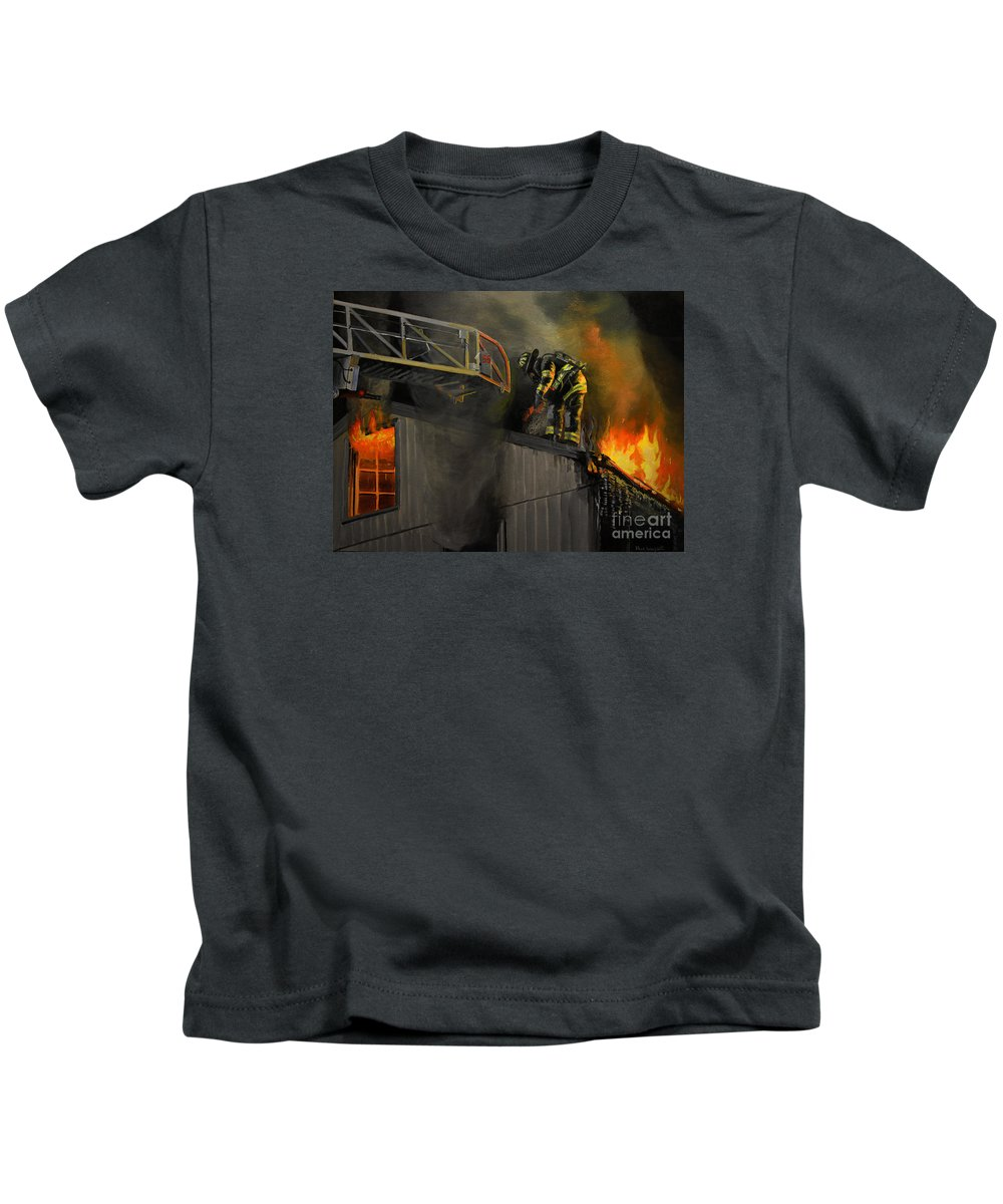 Firefighting Kids T-Shirt featuring the painting Mystic Fire by Paul Walsh