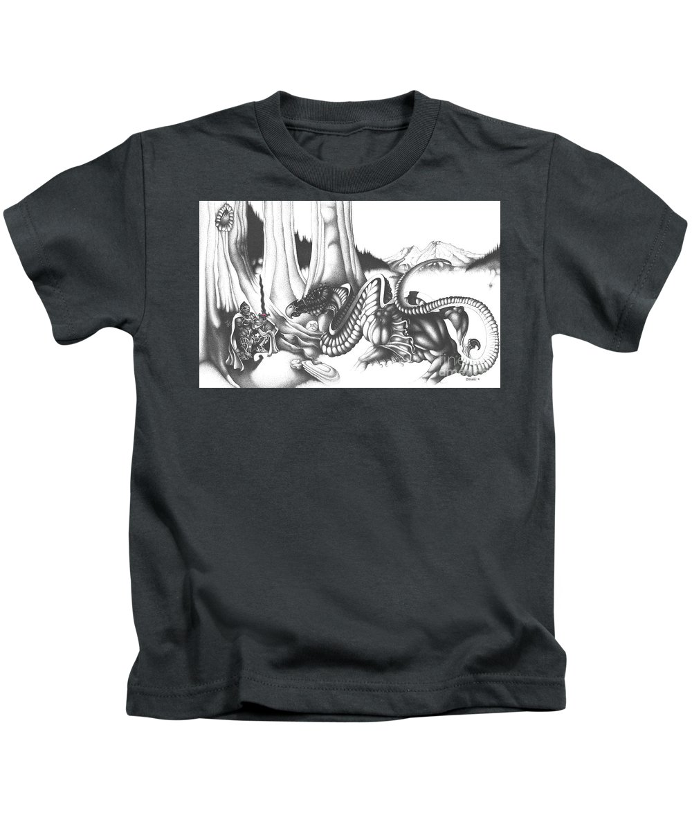 Dragon Kids T-Shirt featuring the drawing Mystical Riverbed by Devaron Jeffery