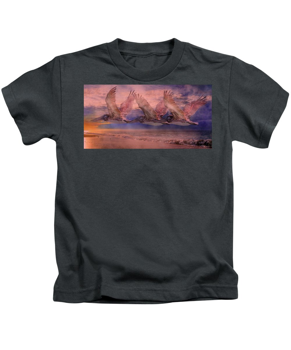 Pelican Kids T-Shirt featuring the photograph Mystical Trio by Betsy Knapp