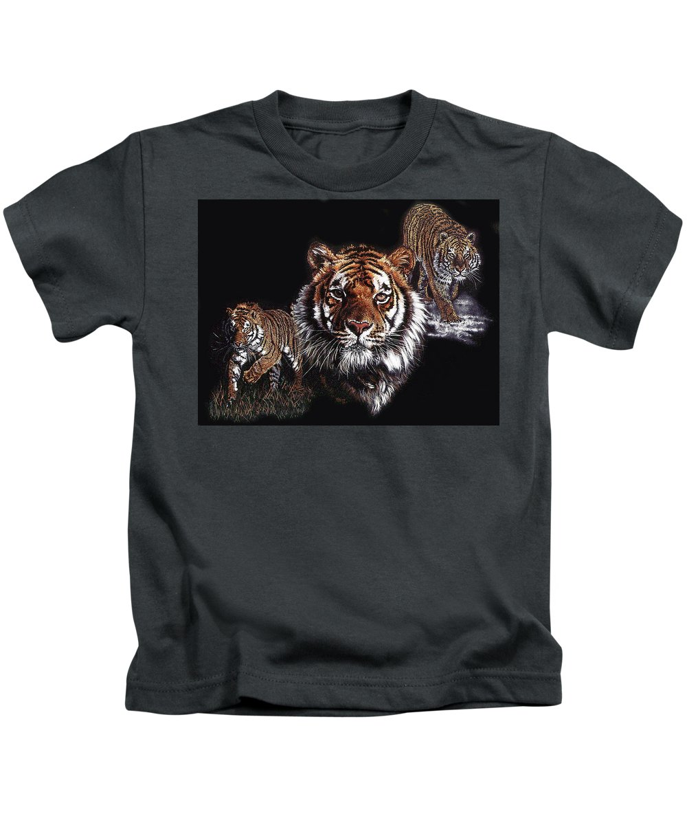Panthera Kids T-Shirt featuring the drawing Myth Fable and Fantasy by Barbara Keith